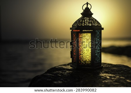 Arabian Lamp Background - stock photo