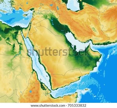 Arabian Peninsula Physical Map Stock Illustration 705333832 ...
