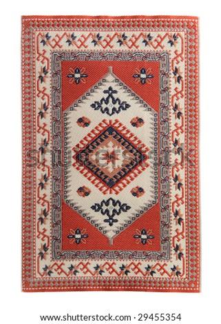 Arabian silk carpet on white background - stock photo