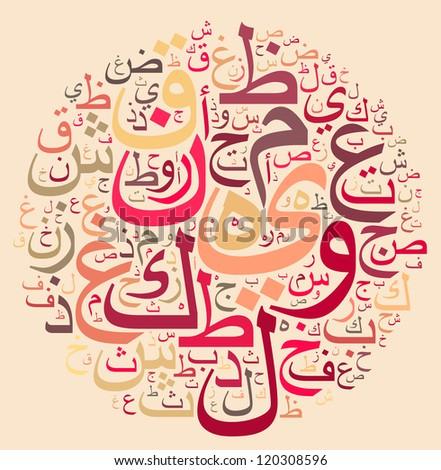 arabic alphabet text cloud in circle shape - stock photo