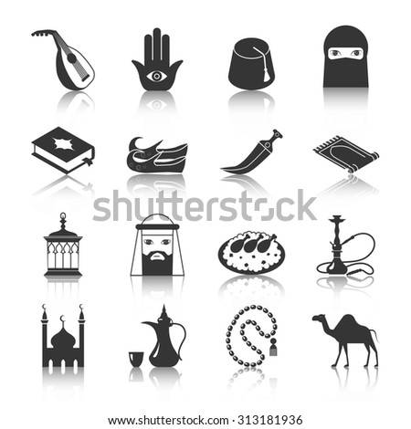 Arabic and islamic religion culture icon black set isolated  illustration