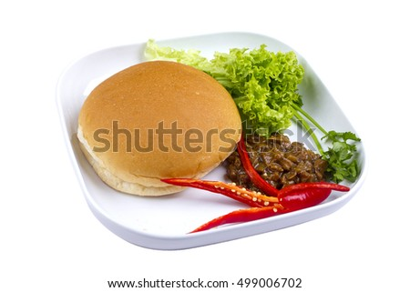 arabic bun bread with vegetable on isolated background