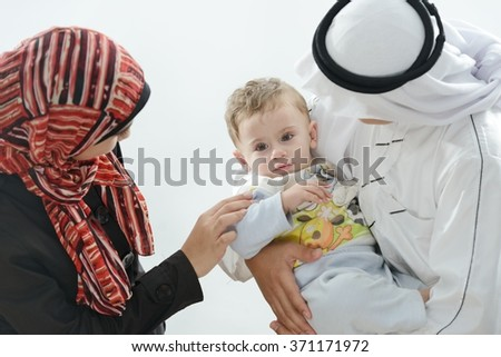 Arabic family - stock photo