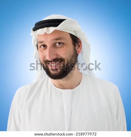 Arabic happy man posing - stock photo