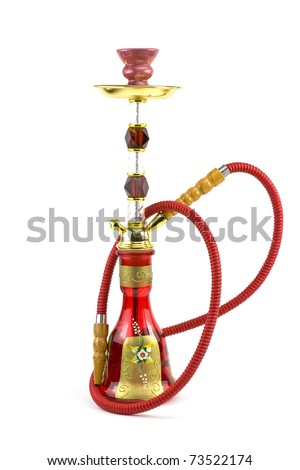Arabic hookah isolated on a white - stock photo