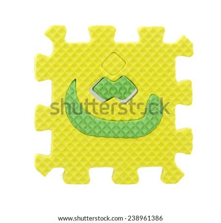 arabic language letter created from Alphabet puzzle isolated on white background - stock photo