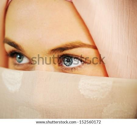 Arabic Muslim teenage student inside the high school classroom posing on board - stock photo
