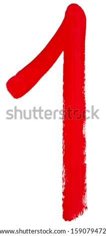 Arabic numeral 1 hand written by red brush on white background