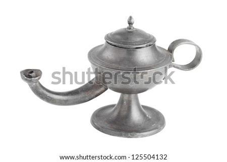 Arabic oil lamp, lamp of Aladdin, isolated on white - stock photo