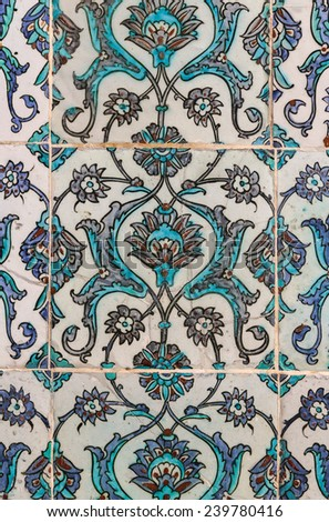 Arabic patterns in the walls. Designed mosaics. - stock photo