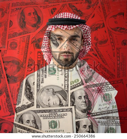Arabic rich businessman with money background - stock photo