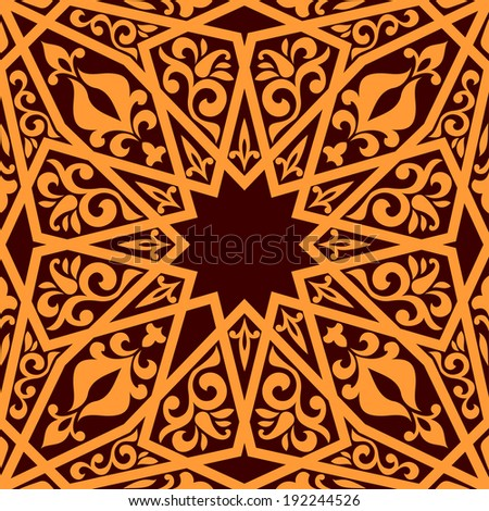 Arabic seamless pattern with geometric elements for background design. Vector version also available in gallery - stock photo