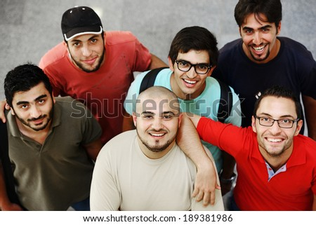 Arabic students posing at campus - stock photo