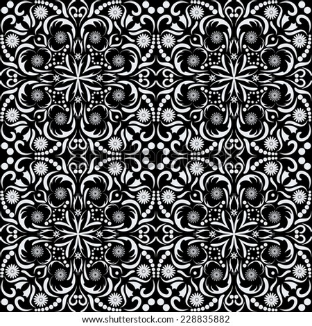 Arabic style black and white seamless pattern, raster graphics.