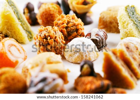 Arabic sweets are a celebratory treat of the middle eastern countries. They are very popular during Ramadan and Eid - stock photo
