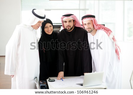 Arabic team work - stock photo