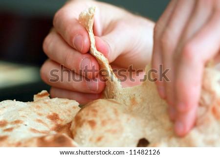 "arabic traditiona flat bread ""lafa"" - stock photo"
