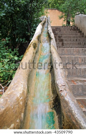 arabic water stair in Alhambra gardens - stock photo