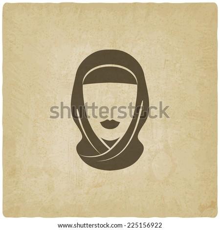 Arabic woman avatar old background -  illustration - stock photo