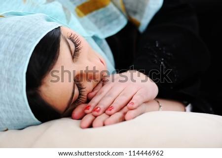 Arabic woman sleeping - stock photo