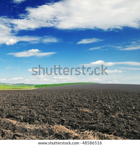 arable land and blue sky