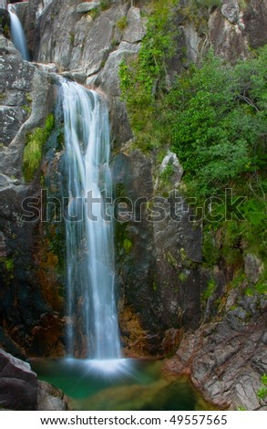 Arado waterfall in Geres National Park, north of Portugal