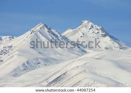 aragats mountain,armenia,winter - stock photo