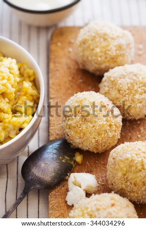 arancini, risotto,balls, wood, board, crumbs, mozarella, stripes, making, bowls,