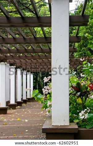 Arbor in Kepaniwai Park and Heritage Gardens - stock photo