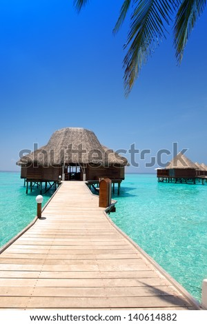 arbor over water for rest. Sea, Maldives - stock photo