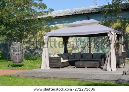 Arbor tent in the territory of the center of rest, Kaliningrad - stock photo