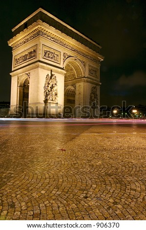 Arc D'Triomphe and Eiffel Tower by night