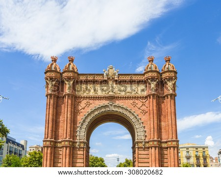 Arc de Triomf was built as the main gate for 1888 Barcelona World Fair by Josep Vilaseca i Casanovas Barcelona, Spain. - stock photo