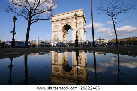 Arc de Triomphe after rain - stock photo