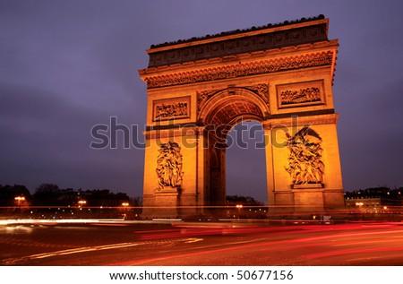 Arc de Triomphe - Arch of Triumph, Paris, France - stock photo