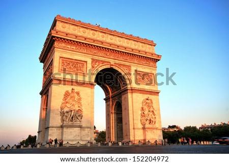 Arc de triomphe at Sunset, Paris - stock photo