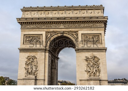 Arc de Triomphe de l'Etoile on Charles de Gaulle Place, Paris, France. Arc is one of the most famous monuments in Paris.  - stock photo