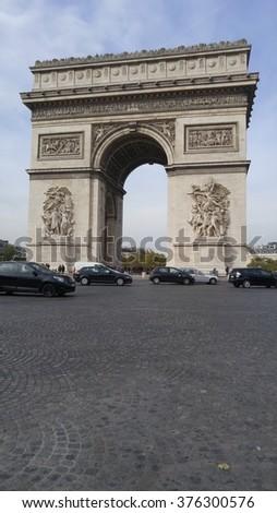 Arc de Triomphe, famous tourist attraction in Paris, France - stock photo