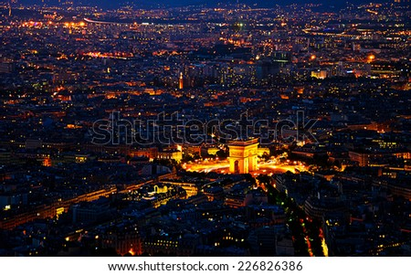 Arc de Triomphe  from the Eiffel tower in paris - stock photo