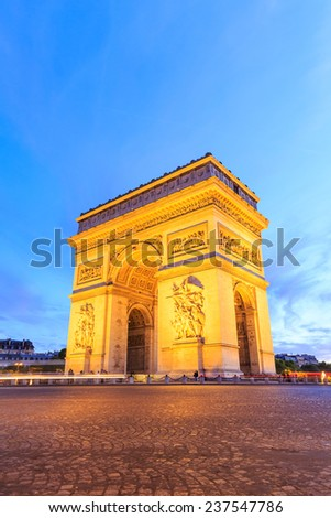 Arc de Triomphe Paris city at night - Arch of Triumph - stock photo