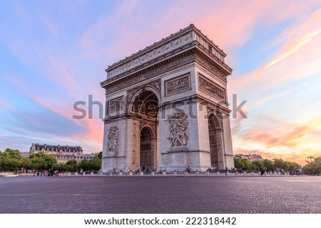 Arc de Triomphe Paris city at sunset - Arch of Triumph - stock photo