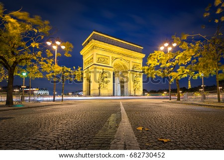 Arc de Triomphe, Paris on an autumn night