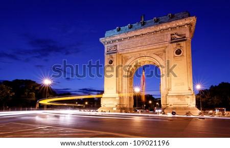 Arc de triumph Bucharest, Night panoramic view - stock photo