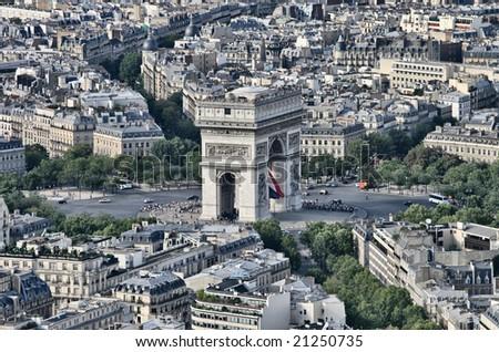 Arc de triumph from the tour eiffel - stock photo