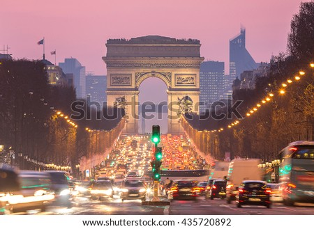 Arc of Triomphe Paris, Champs-Elysees France at night