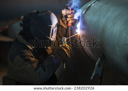 Arc welder at work.