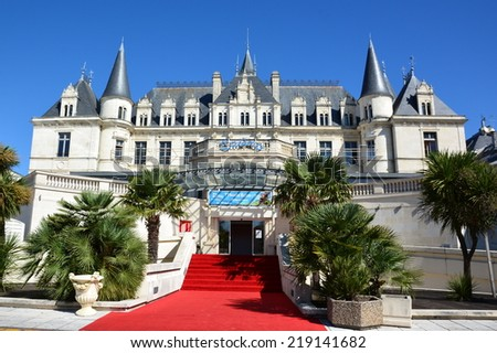 ARCACHON, FRANCE-SEPTEMBER 05: Deganne Castle shown on september 05, 2014 in Arcachon, France. The casino located in this castel, made vibrate this sea resort appreciated by the stars and tourists. - stock photo