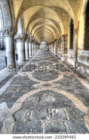arcade in San Marco square, Venice. - stock photo