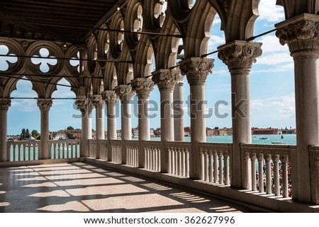 Arcade - Internal View from Doge's Palace, Gothic architecture in Venice, Italy - stock photo