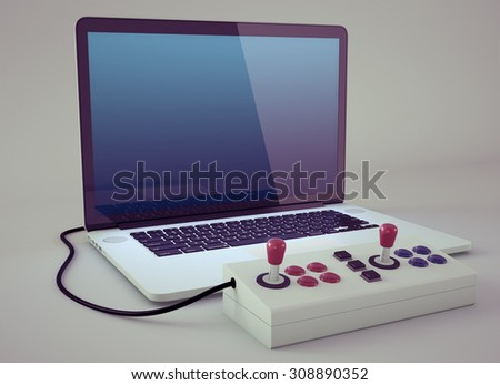 Arcade joystick connected to laptop. Vintage look. Includes clipping path. - stock photo